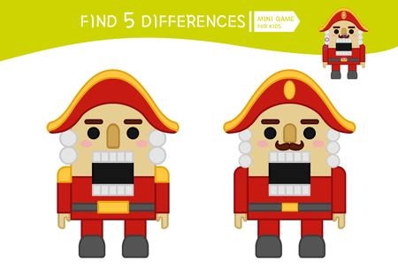 Find differences.  Educational game for children. Cartoon vector illustration of nutcracker.