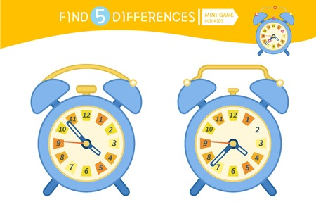 Find differences.  Educational game for children. Cartoon vector illustration. Cartoon alarm clock.