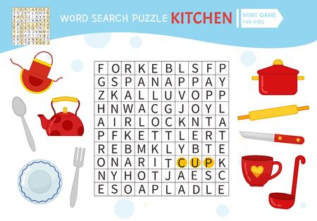 Words puzzle children educational game. Learning vocabulary. Vector cute illustration of kitchenware.. Ilustración de vector