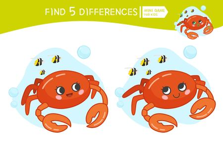 Find differences.  Educational game for children. Cartoon vector illustration of cute crab. Stock Illustratie