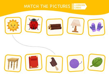 Matching children educational game. Match parts of objects. Activity for pre s�hool years kids and toddlers.