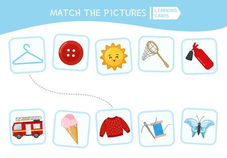 Matching children educational game. Match parts of objects. Activity for pre sсhool years kids and toddlers. Illustration