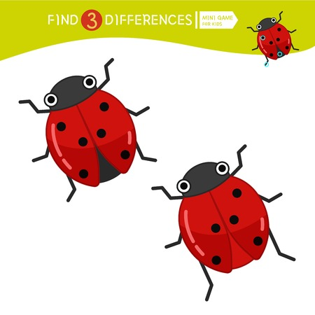 Find differences.  Educational game for children. Cartoon vector illustration of cute ladybug..