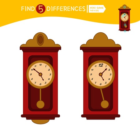 Find differences.  Educational game for children. Cartoon vector illustration of clock.