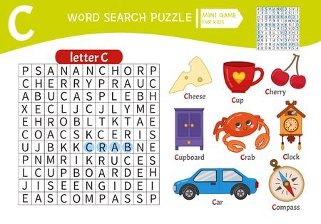 Juego educativo de rompecabezas de palabras para niños. Aprendiendo vocabulario. Letra C.Objetos de dibujos animados en una letra C. Ilustración de vector