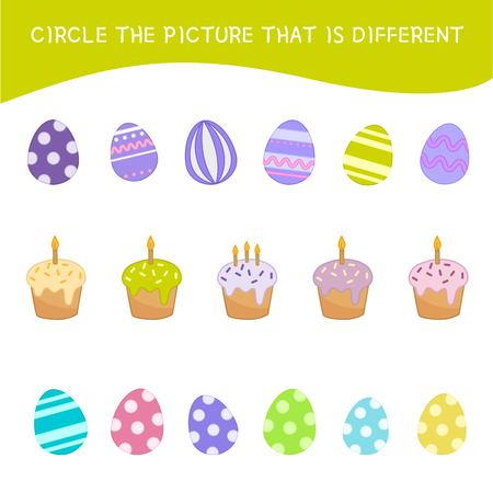 Educational game for children. Find the different pictures. Kids activity with cartoon Easter eggs and cakes..