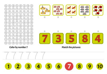 Kids learning material. Worksheet for learning numbers. Number 7. Cartoon illustration of toys.