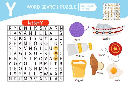 Words puzzle children educational game. Learning vocabulary. Letter Y. Cartoon objects on a letter Y