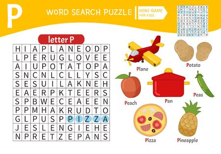 Words puzzle children educational game. Learning vocabulary. Letter P. Cartoon objects on a letter P.