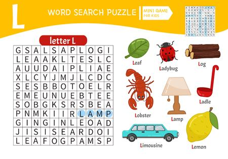 Words puzzle children educational game. Learning vocabulary. Letter L. Cartoon objects on a letter L. Ilustração