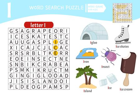 Words puzzle children educational game. Learning vocabulary. Letter I. Cartoon objects on a letter I.
