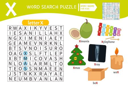 Words puzzle children educational game. Learning vocabulary. Letter X. Cartoon objects on a letter X