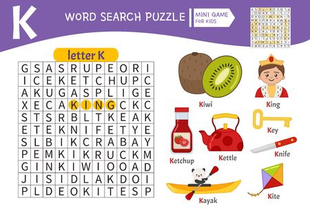 Words puzzle children educational game. Learning vocabulary. Letter K. Cartoon objects on a letter K. Ilustrace