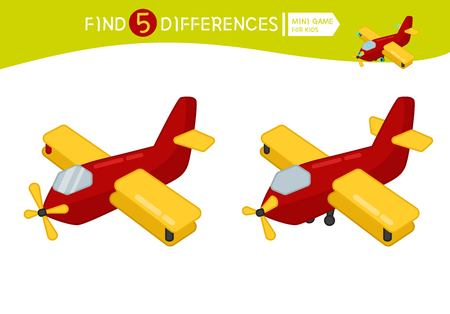 Find differences.  Educational game for children. Cartoon vector illustration.  Cartoon plane.