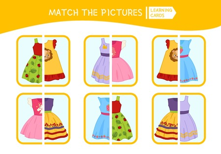 Matching children educational game. Match parts of dress. Activity for pre sсhool years kids and toddlers. Vektorové ilustrace