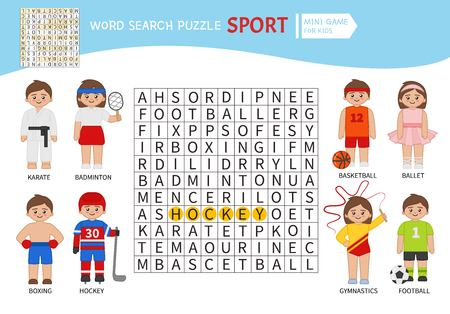 Words puzzle children educational game. Learning vocabulary. Sports. Vector Illustration