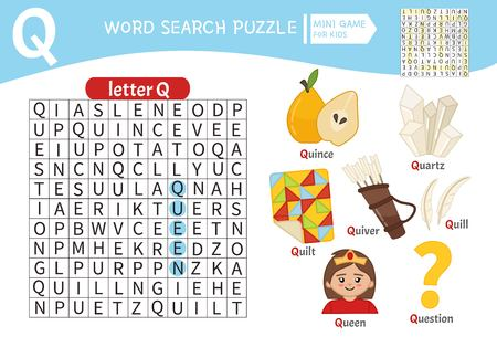 Words puzzle children educational game. Learning vocabulary. Letter Q. Cartoon objects on a letter Q.