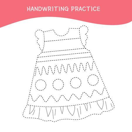 Handwriting practice sheet. Basic writing. Educational game for children.  Cartoon dress