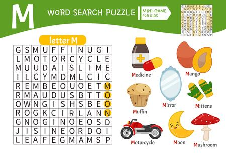 Words puzzle children educational game. Learning vocabulary. Letter M. Cartoon objects on a letter M.