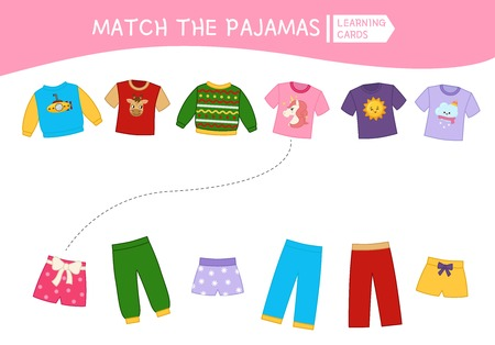 Matching children educational game. Match parts of pajamas. Activity for pre sсhool years kids and toddlers.