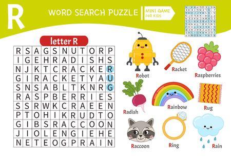 Juego educativo de rompecabezas de palabras para niños. Aprendiendo vocabulario. Letra R. Objetos de dibujos animados en una letra R.