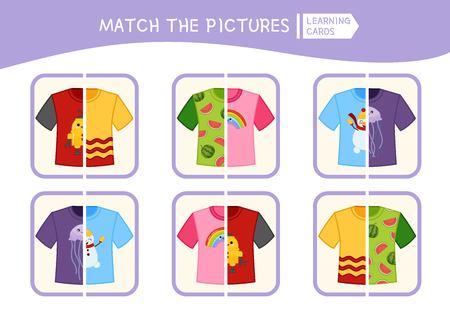 Jeu éducatif pour enfants assortis. Faites correspondre les parties du t-shirt. Activité pour les enfants et les tout-petits d'âge préscolaire.