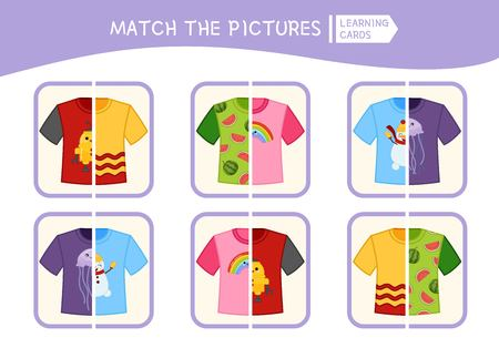 Matching children educational game. Match parts of t-shirt. Activity for pre sсhool years kids and toddlers.