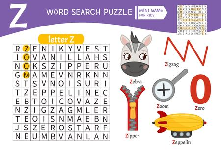 Words puzzle children educational game. Learning vocabulary. Letter Z. Cartoon objects on a letter Z
