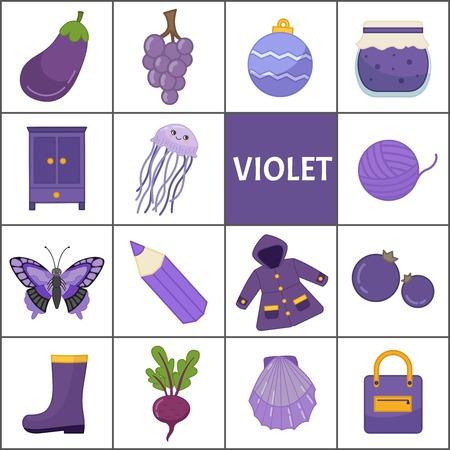Aprenda los colores primarios. Violeta. Diferentes objetos en color violeta. Material educativo para niños y niños pequeños.
