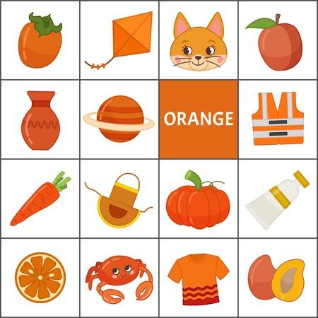 Aprenda los colores primarios. Naranja. Diferentes objetos en color naranja. Material educativo para niños y niños pequeños. Ilustración de vector