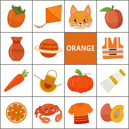 Learn the primary colors. Orange. Different objects in orange color. Educational material for children and toddlers. 向量圖像