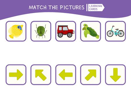 Matching children educational game. Match of objects and arrows. Activity for pre sсhool years kids and toddlers.