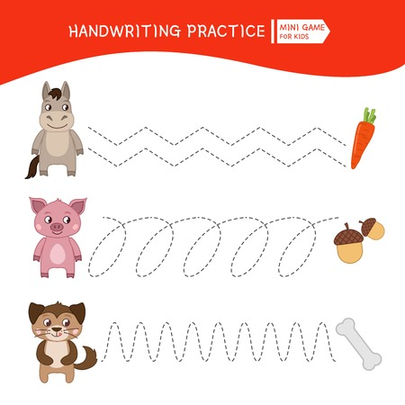 Handwriting practice sheet. Basic writing. Educational game for children.  Cartoon animal and their food.