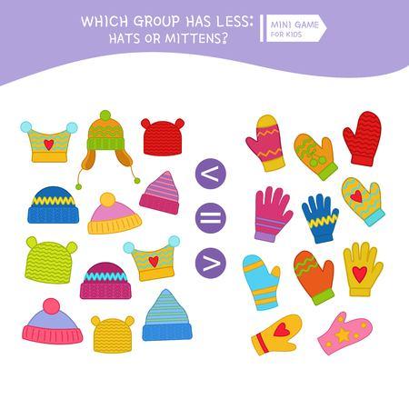Liczenie gra edukacyjna dla dzieci, arkusz aktywności dzieci matematyki. Kreskówka kapelusze i rękawiczki.