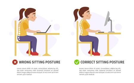 Vector poster wrong and correct sitting posture. Illustration of cute girl.