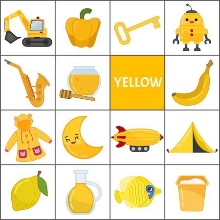 Poznaj podstawowe kolory. Żółty. Różne przedmioty w kolorze żółtym. Materiały edukacyjne dla dzieci i niemowląt.