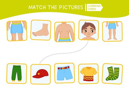 Matching children educational game. Match of body parts and clothing. Activity for pre sсhool years kids and toddlers. Illustration