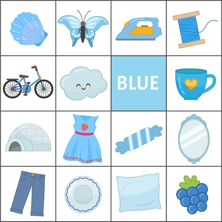 Apprenez les couleurs primaires. Bleu. Différents objets de couleur bleue. Matériel pédagogique pour les enfants et les tout-petits.