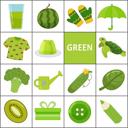 Apprenez les couleurs primaires. Vert. Différents objets de couleur verte. Matériel pédagogique pour les enfants et les tout-petits.