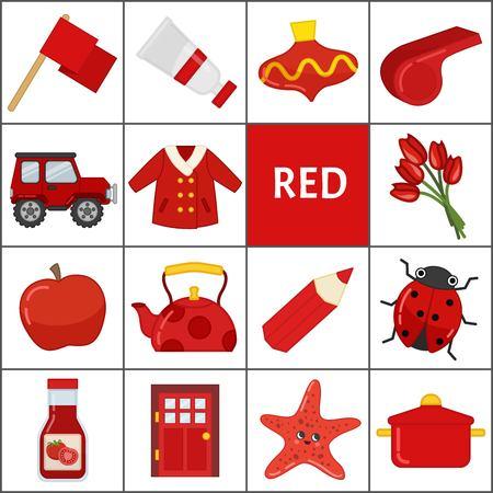 Leer de primaire kleuren. Rood. Verschillende objecten in rode kleur. Educatief materiaal voor kinderen en peuters.