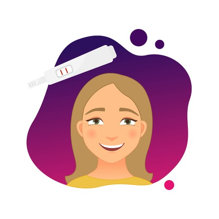 Vector illustration of a happy girl. Positive pregnancy test. Planning a child. Stockfoto - 125709522