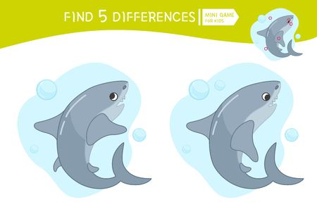 Find differences.  Educational game for children. Cartoon vector illustration of cute shark.