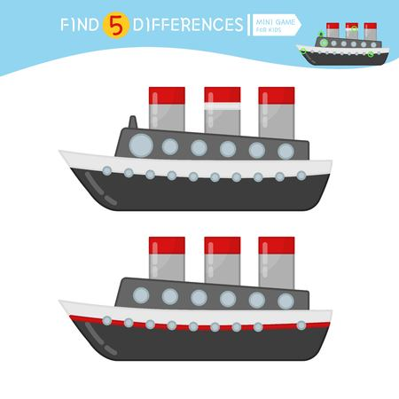 Find differences.  Educational game for children. Cartoon vector illustration of ship.