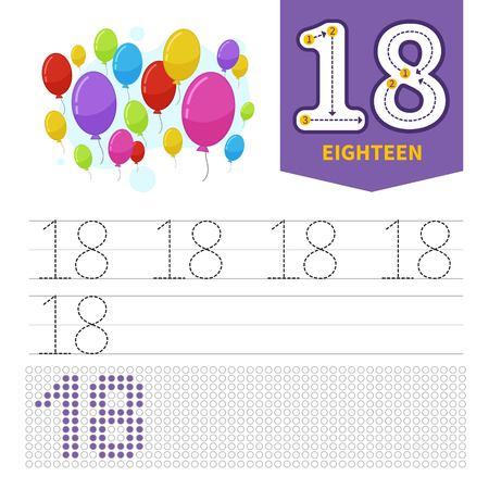 Materiale didattico per bambini. Scheda per imparare i numeri. Numero 18. Mongolfiere dei cartoni animati.
