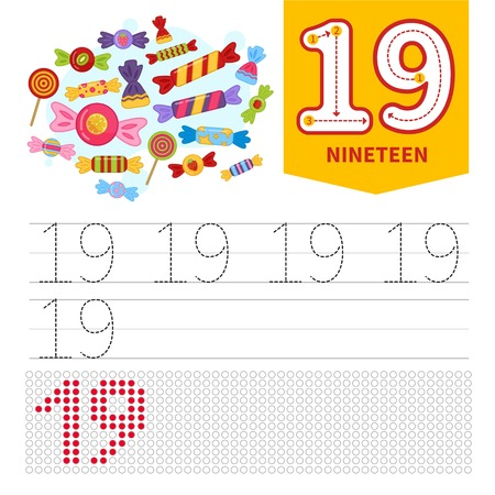 Kids learning material. Card for learning numbers. Number 20. Cartoon 