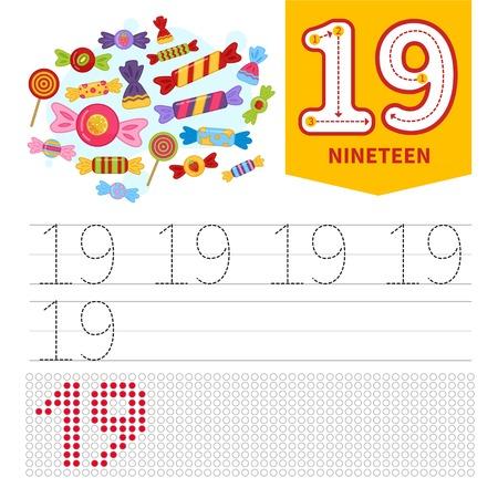 Niños aprendiendo material. Tarjeta para aprender números. Número 20. Caramelos lindos de dibujos animados.