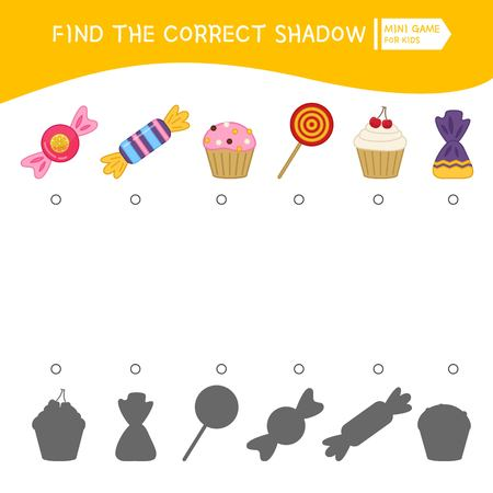 Educational game for children. Find the right shadow. Kids activity with cute candies. Ilustração Vetorial