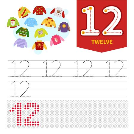 Kids learning material. Card for learning numbers. Number 12. Cartoon sweaters