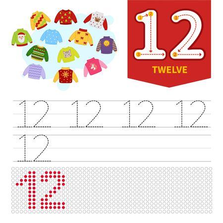 Material de aprendizaje para niños. Tarjeta para aprender números. Número 12. Suéteres de dibujos animados