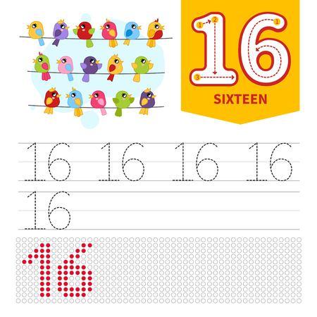 Materiale didattico per bambini. Scheda per imparare i numeri. Numero 16. Uccelli carini dei cartoni animati. Vettoriali
